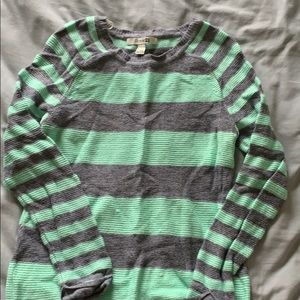 Mint green and gray striped sweater